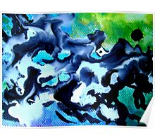 Defiance Abstract Painting Blue and Black Poster