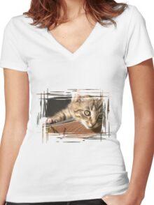 Striped kitten Women's Fitted V-Neck T-Shirt