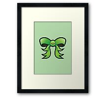 Cute Green Kawaii Bow Framed Print