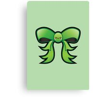 Cute Green Kawaii Bow Canvas Print