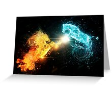 Water and fire horses Greeting Card