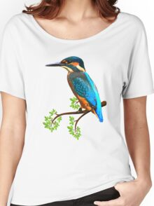 Cute and Colorful elegant kingfisher watercolor blue Bird Women's Relaxed Fit T-Shirt
