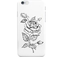 Black and white hand drawn rose iPhone Case/Skin