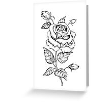 Black and white hand drawn rose Greeting Card