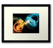 Water and fire horses Framed Print