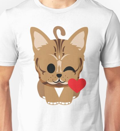 Bengal Cat Emoji Flirt and Blow Kiss Face Unisex T-Shirt