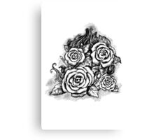 Black and white hand drawn roses Canvas Print