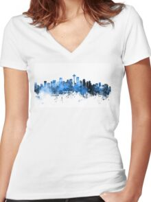 Seattle Washington Skyline Women's Fitted V-Neck T-Shirt