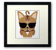 Bengal Cat Emoji Cool Sunglasses Look Framed Print