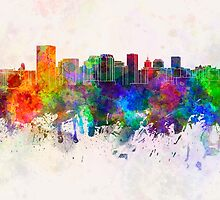 Richmond skyline in watercolor background by paulrommer