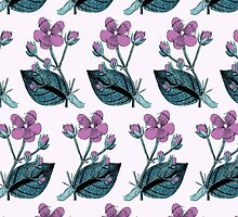 Flower Blossom, Petals, Leaves - Green Purple by sitnica
