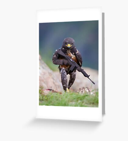 Falcon with a Rifle Greeting Card