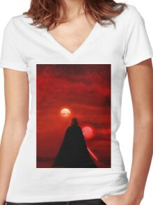 Star Wars Darth Vader Tatooine Sunset  Women's Fitted V-Neck T-Shirt