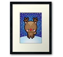 Cute Kawaii Rudolph The Red Nosed Reindeer Framed Print