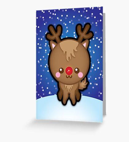 Cute Kawaii Rudolph The Red Nosed Reindeer Greeting Card