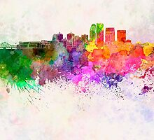 Louisville skyline in watercolor background by paulrommer