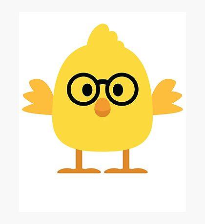 Cute Chick Emoji Nerd Noob Glasses Face Photographic Print