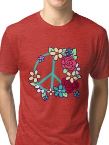 Flowery Peace Sign Tri-blend T-Shirt