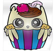 Cute Baby Owl Cupcake Poster
