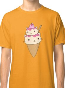 Cute and kawaii cat ice-cream cone Classic T-Shirt