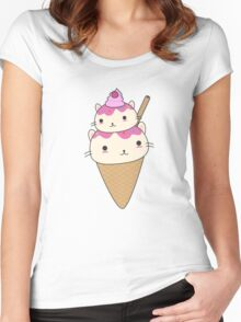 Cute and kawaii cat ice-cream cone Women's Fitted Scoop T-Shirt