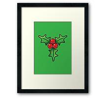 Cute Kawaii Christmas Holly Bunch Framed Print