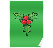 Cute Kawaii Christmas Holly Bunch Poster