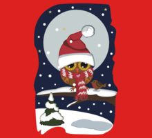 Baby Owl with oversized Santa hat and scarf Kids Clothes