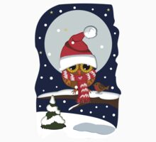 Baby Owl with oversized Santa hat and scarf One Piece - Short Sleeve