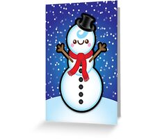 Cute Kawaii Christmas Snowman Greeting Card