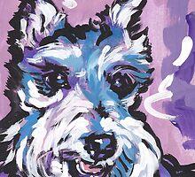 Schnauzer Bright colorful pop dog art by bentnotbroken11