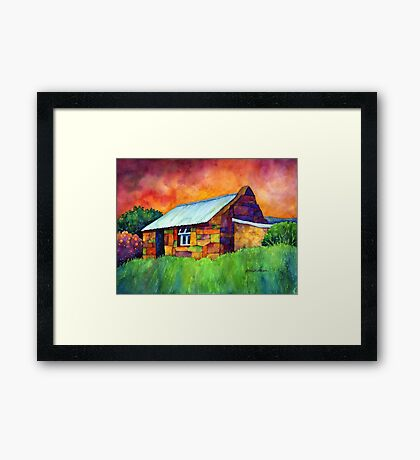 Blue Roof Cottage Framed Print