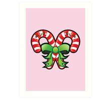 Cute Kawaii Christmas Candy Cane Art Print