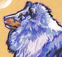 Sheltie Shetland Sheepdog Bright colorful pop dog art by bentnotbroken11