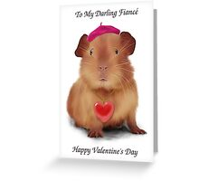 """Guinea Pig Valentine's Day Card """"To Fiancé"""" Greeting Card"""