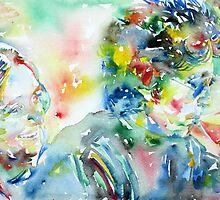 BOB DYLAN and JOAN BAEZ - watercolor portrait.1 by lautir