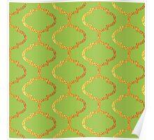 Mughal on acid green lattice Pattern Poster