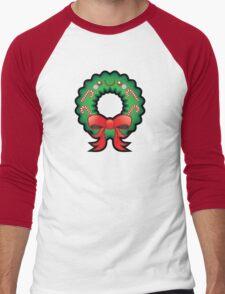 Cute Kawaii Christmas Wreath Men's Baseball ¾ T-Shirt
