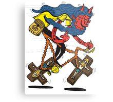 Satan rides  fixie! Metal Print