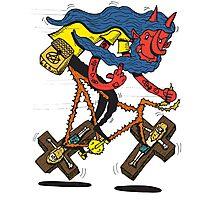 Satan rides  fixie! Photographic Print