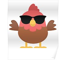 Cute Rooster Emoji Cool Sunglasses Face Poster