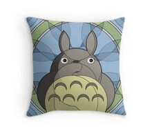 Stained-glass Forest Spirit Throw Pillow