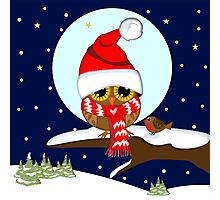 Baby wl with oversized Santa hat and red scarf Photographic Print