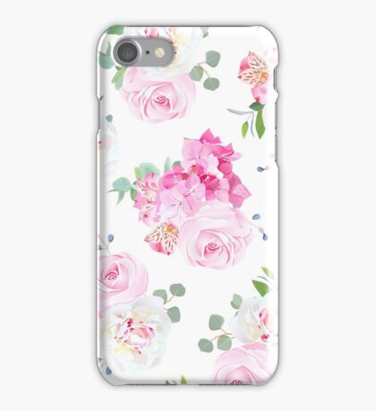 Small wedding bouquets of rose, peony, alstroemeria lily, hydrangea, blue berries and eucalyptus leaves vector seamless print. Delicate pink, white and violet tones. iPhone Case/Skin