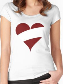 Latvia Flag Heart Women's Fitted Scoop T-Shirt