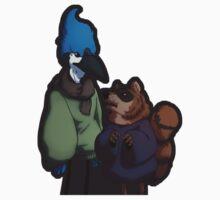 Bluejay and Raccoon by shepherdshound