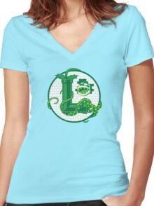 Super Luigi Emblem Women's Fitted V-Neck T-Shirt