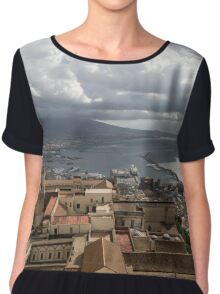 Naples Italy Aerial Perspective - God Rays Clouds and Vistas Chiffon Top