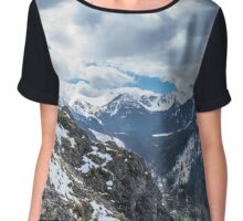 Mountains landscape in summer. Soft dark colors Chiffon Top
