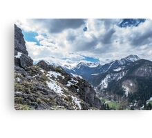 Mountains landscape in summer. Soft dark colors Canvas Print